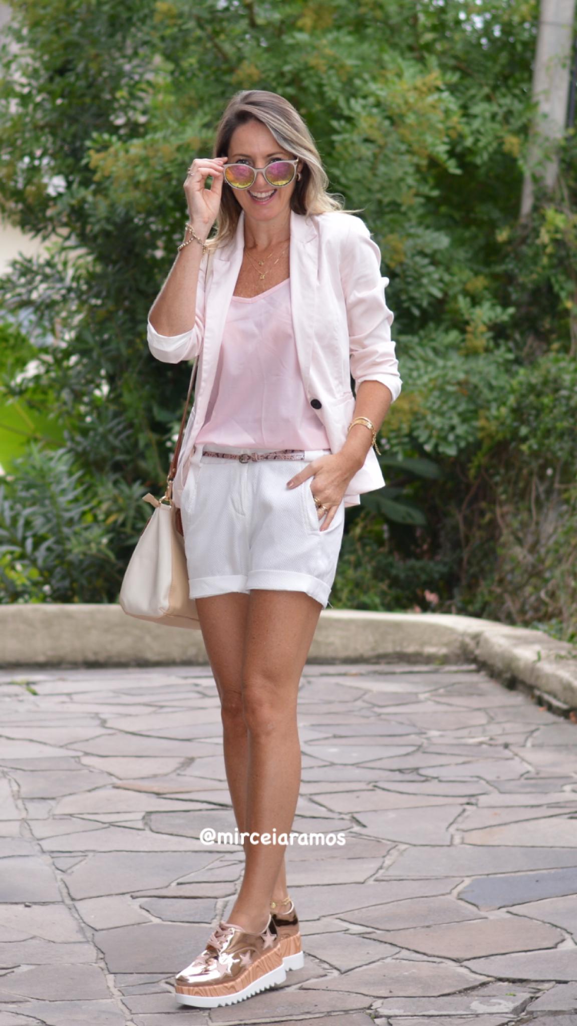 84995f7111 Look do dia - short branco - Blazer Rose - flatform - Oxford metalizado -  rosa - pink - ootd - outfit - casual - comfy