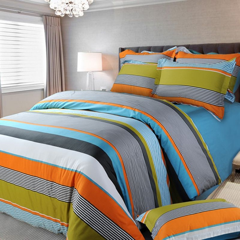 Orange White and Blue Multi-color Rugby Stripe and Pinstripe Fashion Boys  Cotton Satin Full, Queen Size Bedding Sets