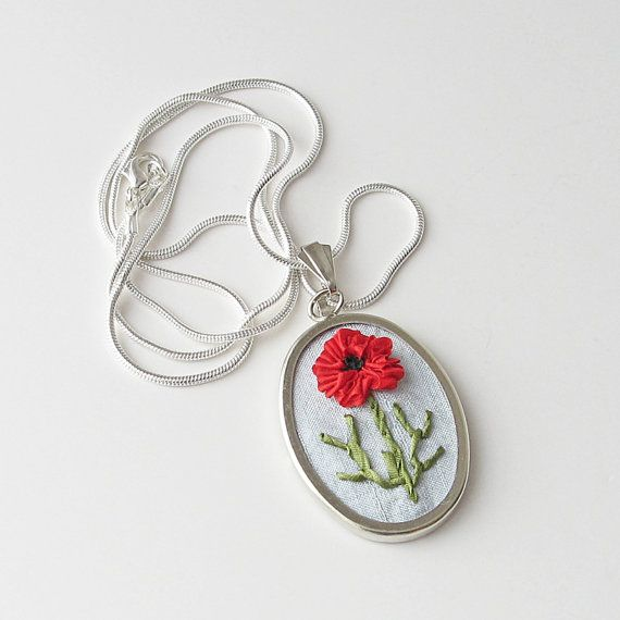 Red Poppy Necklace silk ribbon embroidery by bstudio on Etsy, $40.00