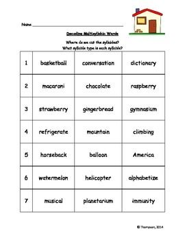Decodable Multisyllabic Word List Words