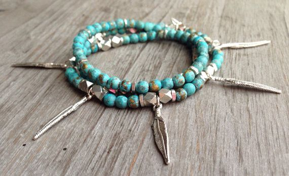 African Turquoise Clay Patina Beaded Three by IsabellaRaeJewelry, $38.00