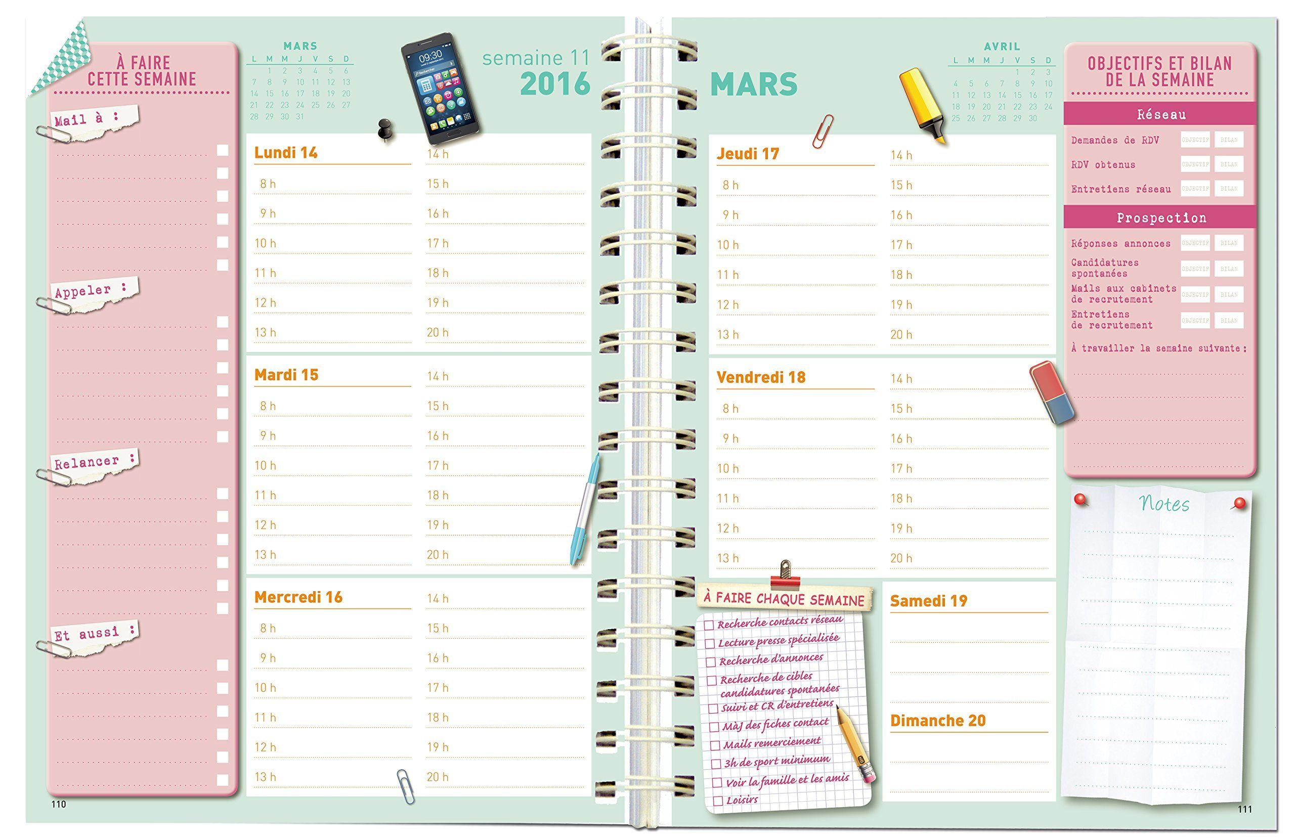 Amazon Fr Agenda Guide De La Recherche D Emploi Memoniak