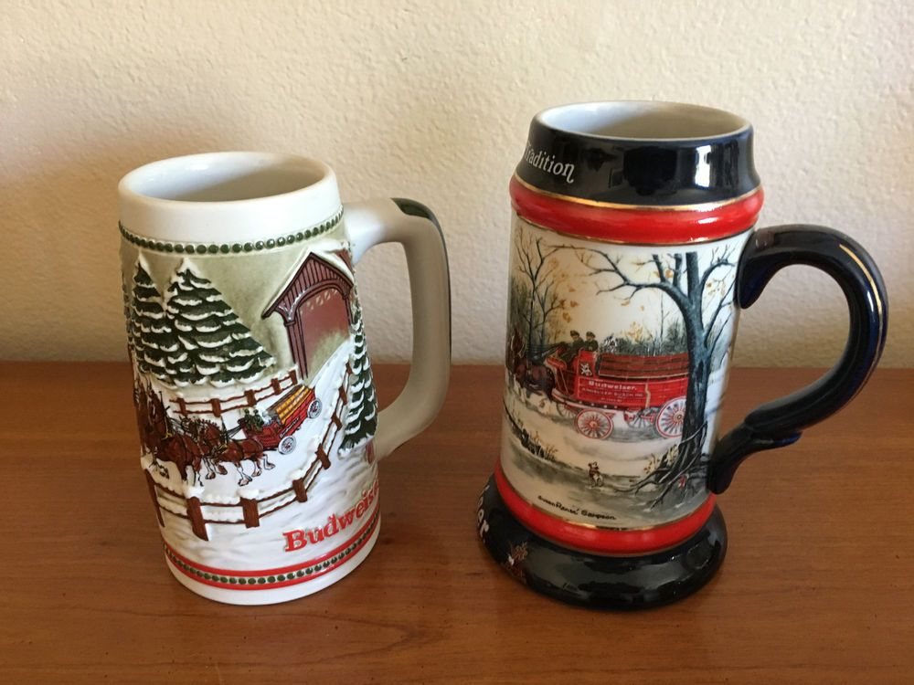 two budweiser christmas steins clydesdales handcrafted ceramarte 1984 1990 budweiser - Budweiser Christmas Steins