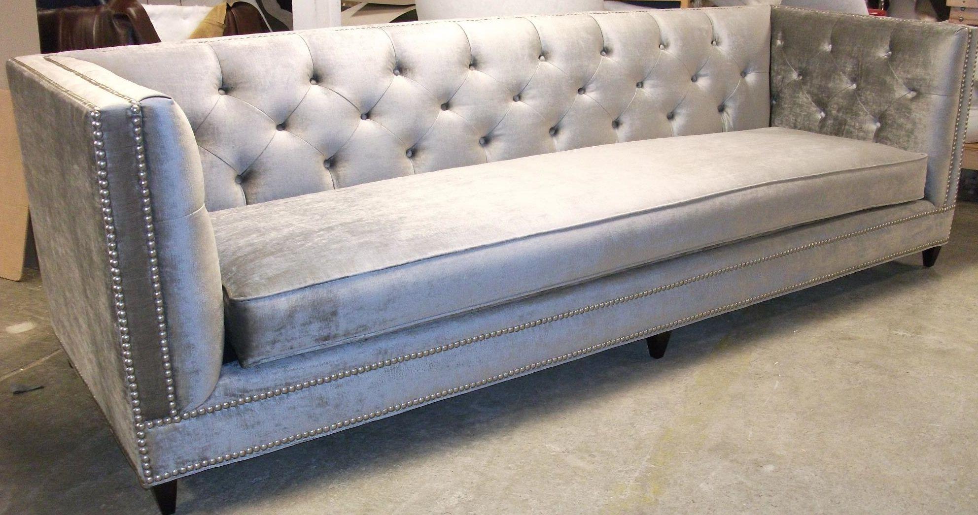 Faux Silk Velvet Gray Tufted Sofa Nail Head Trimming Bench Seating Oversized Gorgeous Velvet Sofa Living Room Sofa Design Luxury Sofa