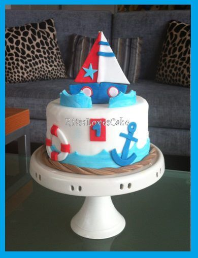 Awesome Nautical Theme 1St Birthday Cake Google Search First Birthday Personalised Birthday Cards Veneteletsinfo