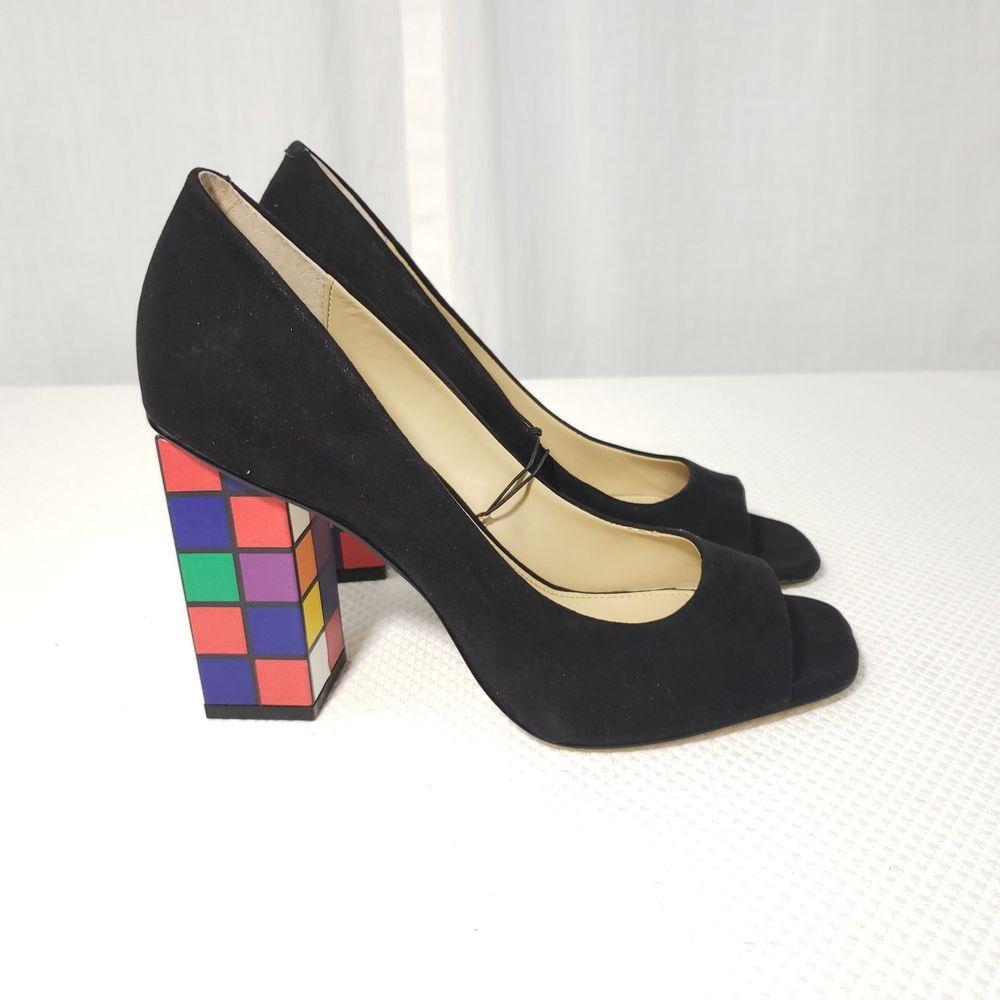 90df9b884b2e Katy Perry Caitlin 7.5 Rubix Cube Heels Shoes Black Suede Peep Toe Pumps   KatyPerry  PumpsClassics