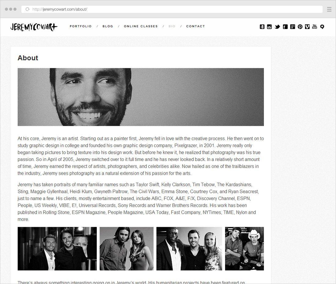 How to write a bio for a photography website write compare contrast essay conclusion paragraph