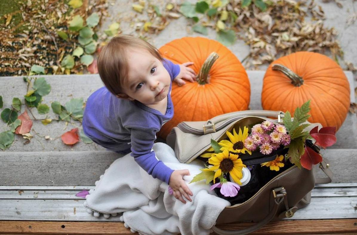 Cute Baby And A Diaper Bag Full Of Flowers Image Via Terralarock