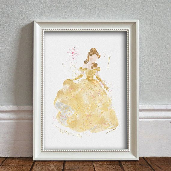 Beauty and The Beast Belle ART PRINT Illustration Watercolor Print ...