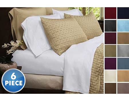 6 Piece Set Hotel Lexington 2200 Series Organic Bamboo Bed Sheets