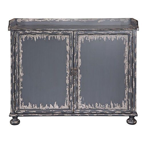 Pulaski P020002 Distressed Grey Wine Storage Bar Cabinet
