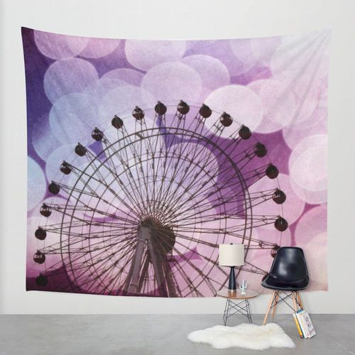 Purple Tapestry wall hanging tapestries dorm room college decor At the Fair fine art photography Ferris Wheel home decor circles Nursery Art