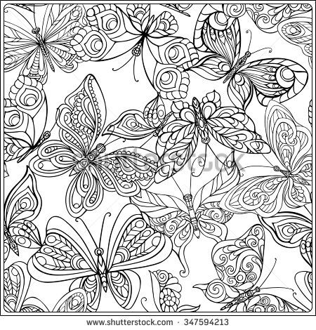 Pattern with Butterflies Coloring book for adult and older