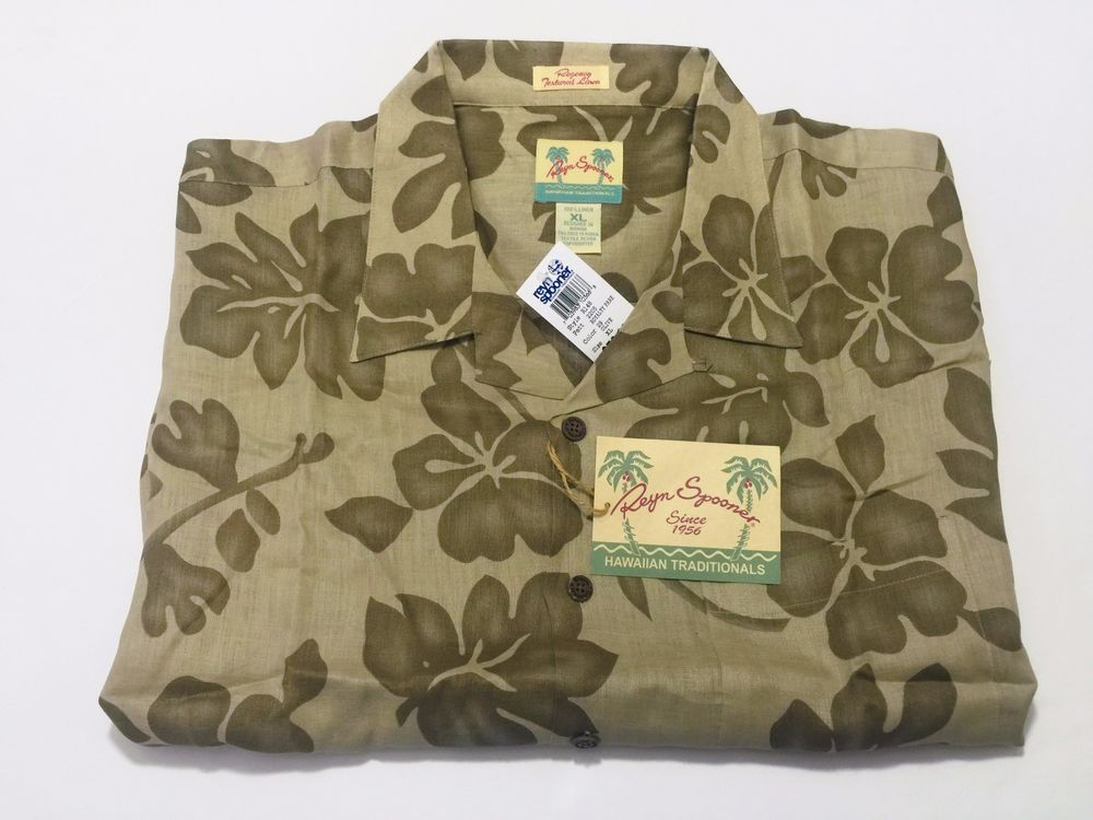 Reyn Spooner XL Regency Textured Linen Men's Hawaiian Floral Camp Shirt NEW NWT #ReynSpooner #Hawaiian