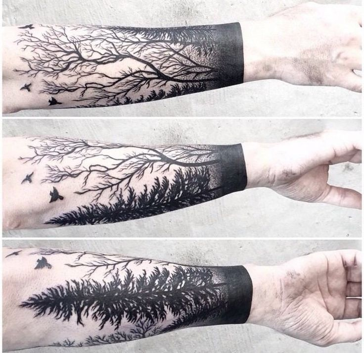 Tattoo Trends Idee Tatouage Homme Avant Bras Foret Arbres 00
