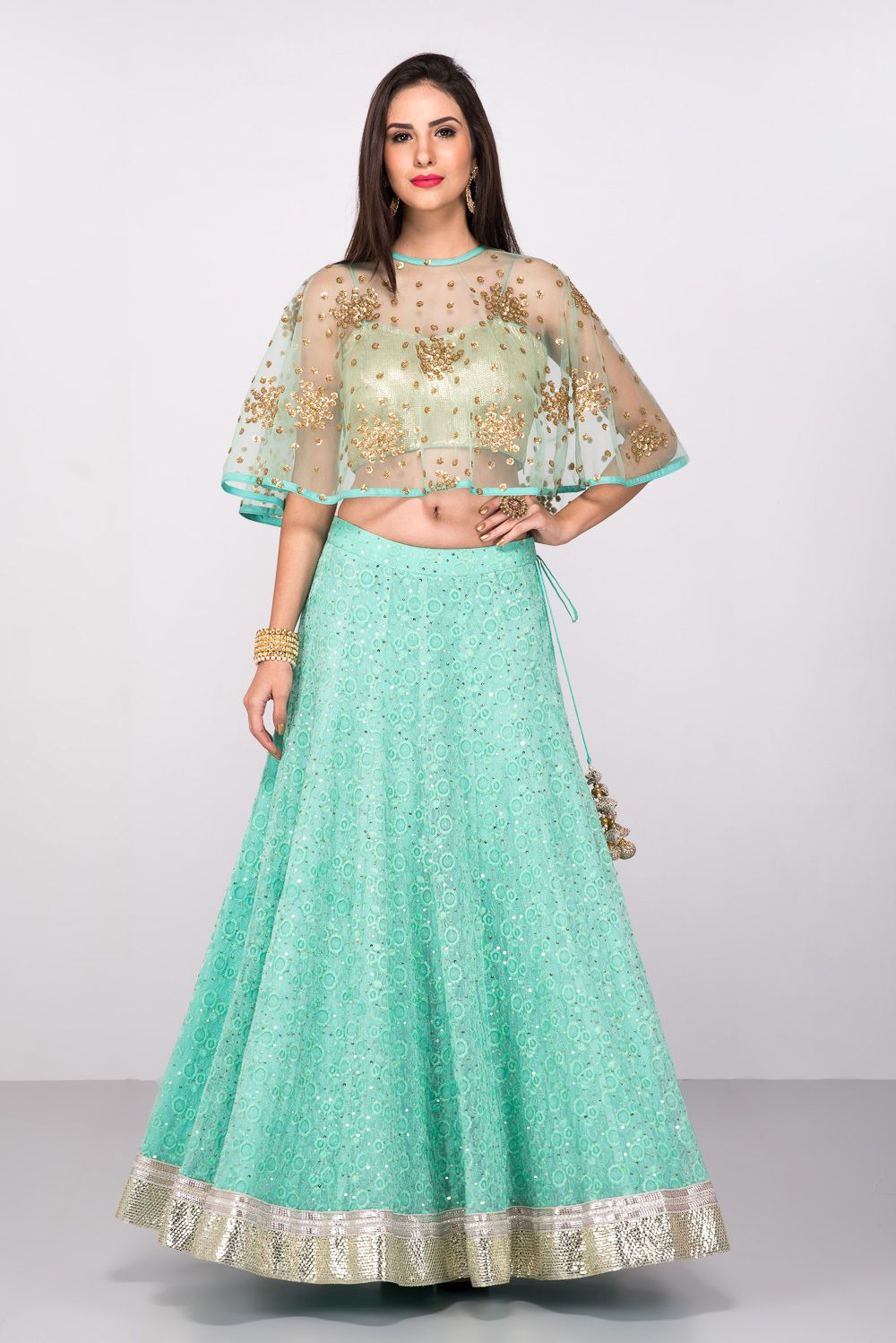 e212923c0a20b AVNNI KAPUR Aqua Blue Cape Style Crop Top And Skirt in 2019