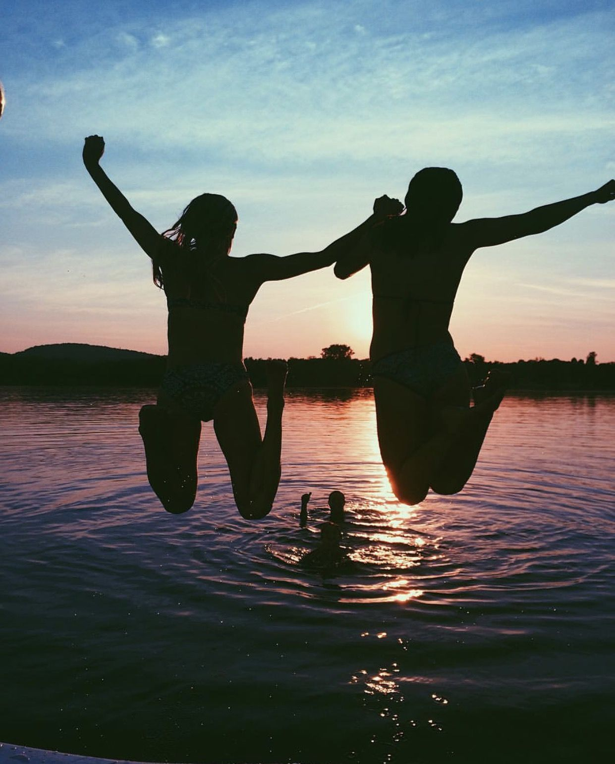 Water Lake Sunset Pretty Jumping Boat Girls Teen Tumblr -7159