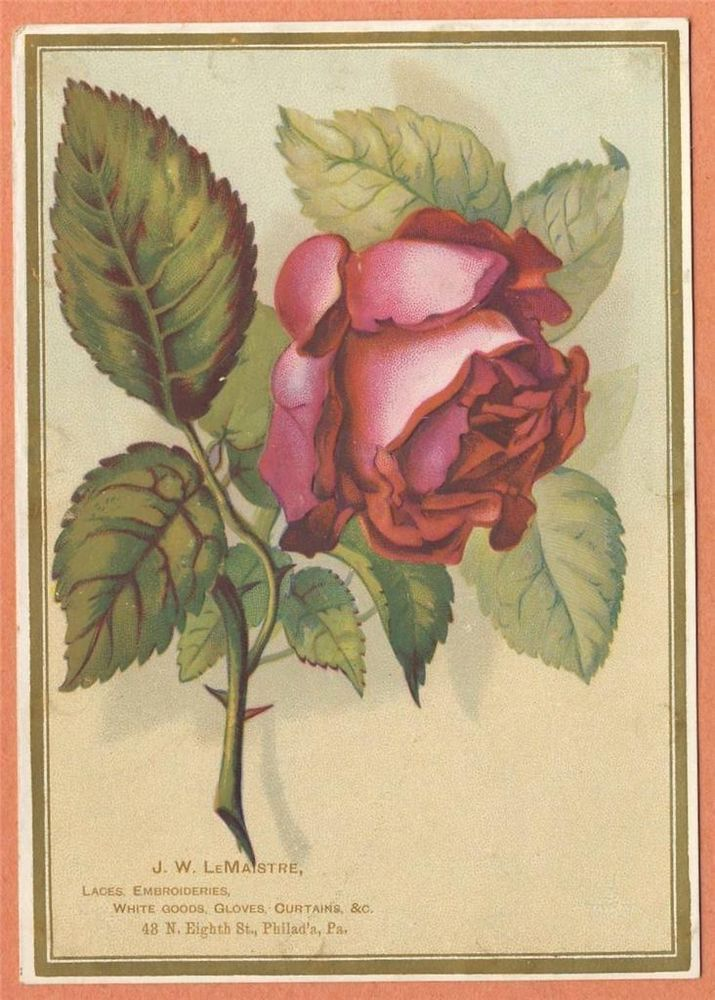 Vintage Victorian Trade Card J W Lemaistre Laces Embroideries