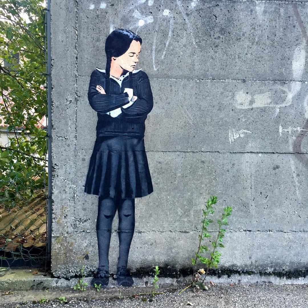 Wednesday Addams stencil by @jps_artist (Stavanger, Norway)
