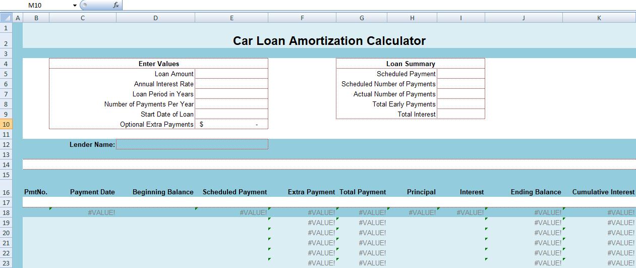 Car Loan Amortization Calculator Excel Exceltemple Car Loans Amortization Schedule Mortgage Amortization Calculator