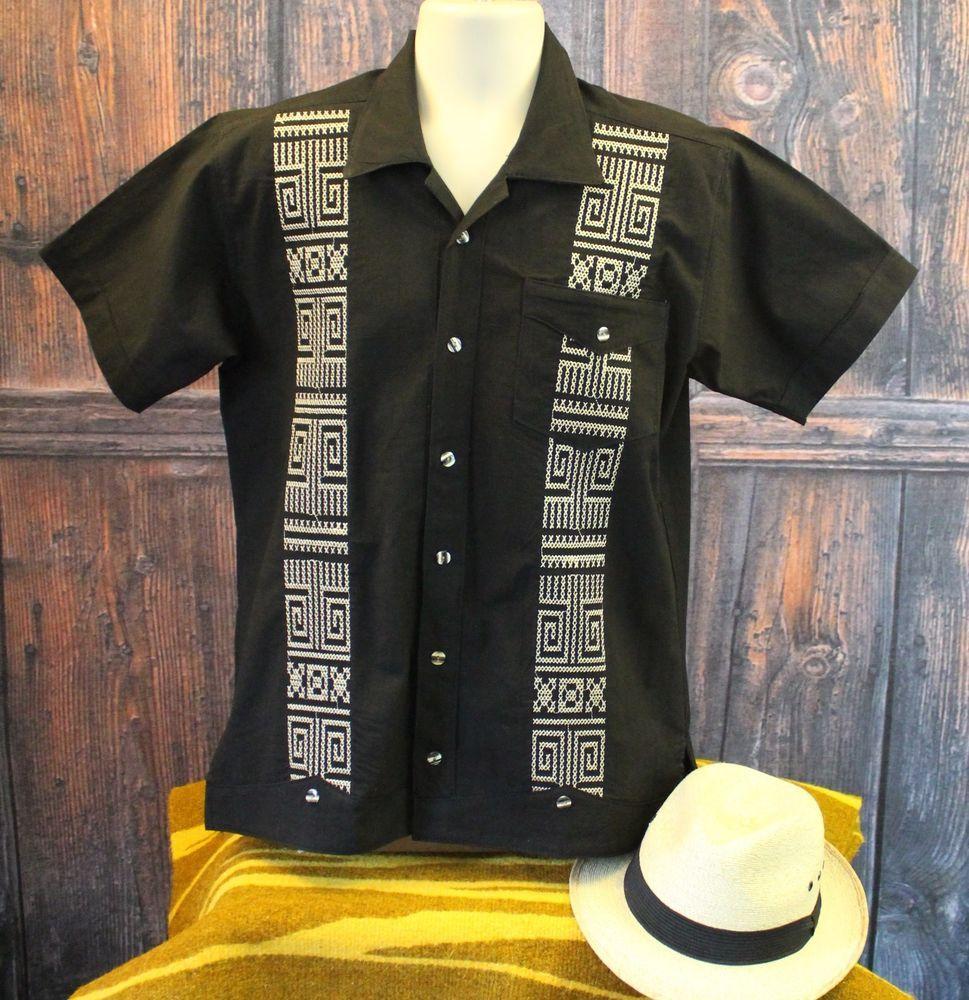 3b8c7aae Black & Gold Latin American Men's Guayabera Shirt Casual Aztec made in  Mexico #Handmade #Guayabera