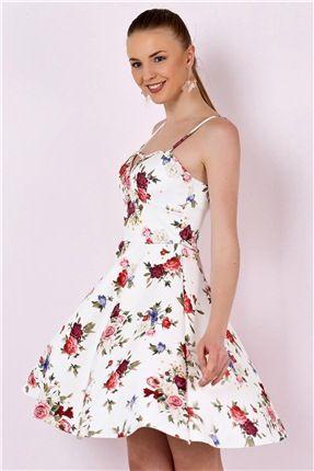 115 2417 Cicekli Ip Askili Elbise Elbise Modelleri Elbise Kadin