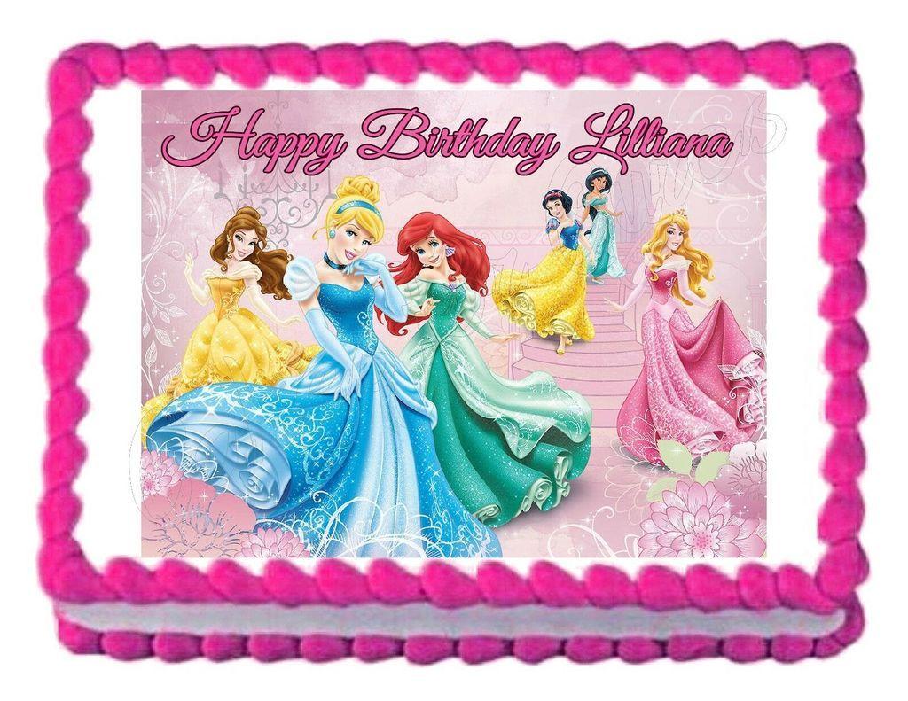 Disney princess edible cake image cake topper princess