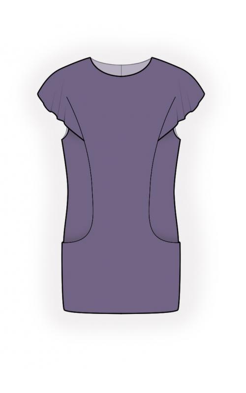 Tunic With Pockets  - Выкройка #4477 Выкройки на Ваш размер от компании Lekala - скачать онлайн бесплатно Облегающая модель, Рельефные швы, Волан, Круглая горловина, Без воротника, Короткие рукава, Цельнокроенные рукава, On-seam / front hip pockets