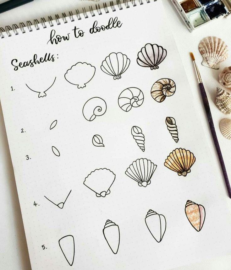 How to doodle seashells - #doodle #seashells #aestheticnotes
