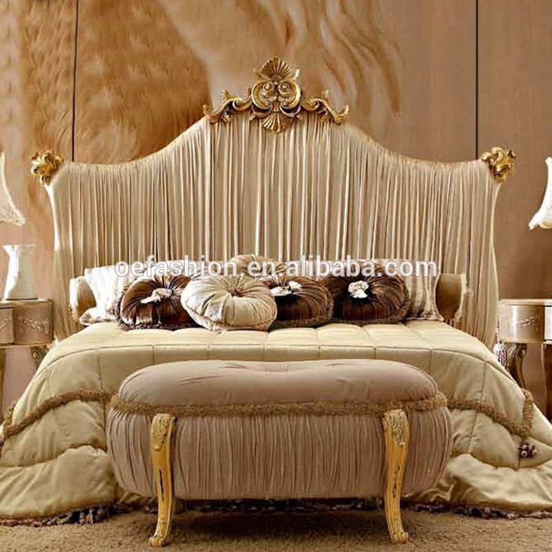 New Classic High Back White Fabric King Bed Luxury Fabric Wedding