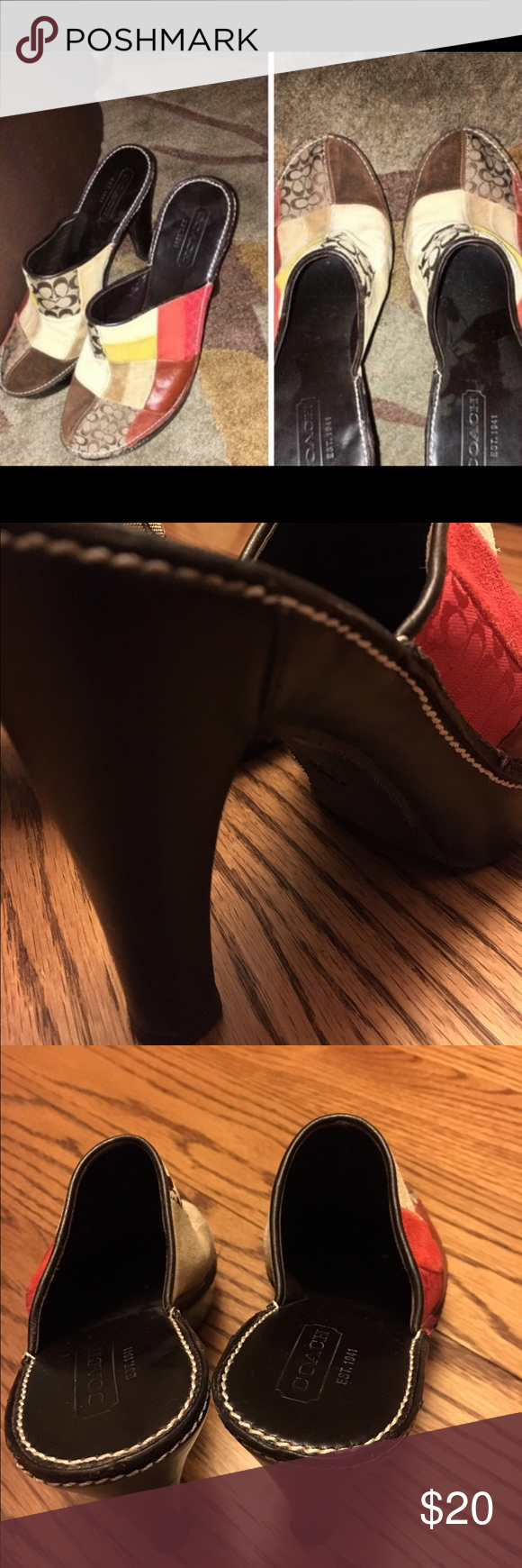 Coach shoes women's 6 Patchwork leather! Super cute and well-made. Women's size 6 Coach Shoes Mules & Clogs