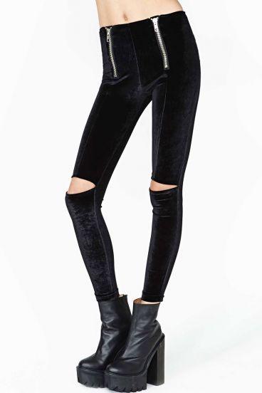Black Elastic Skinny Hollow Leggings pictures