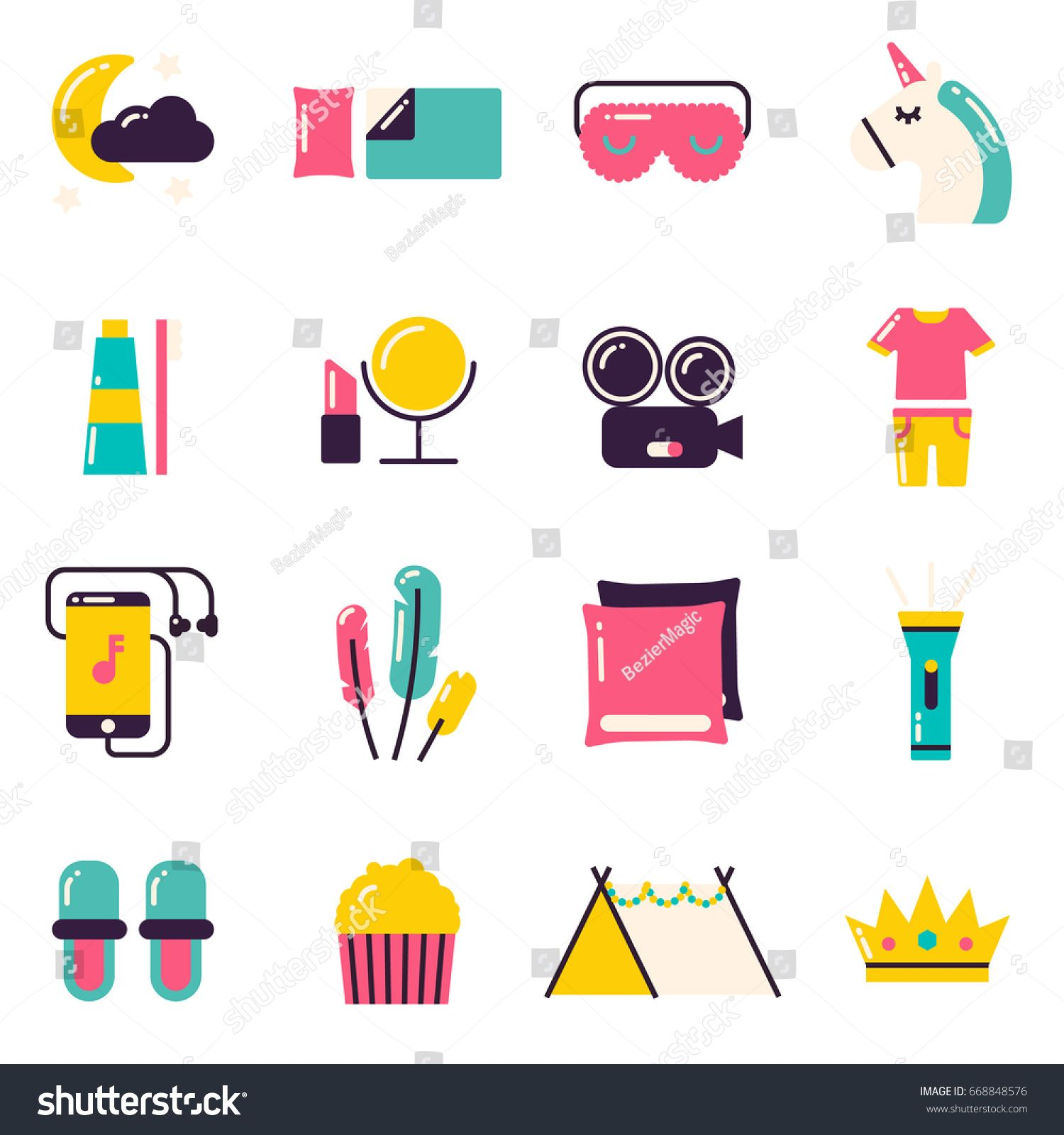 Slumber Party Icons. Pajama party or sleepover symbols and