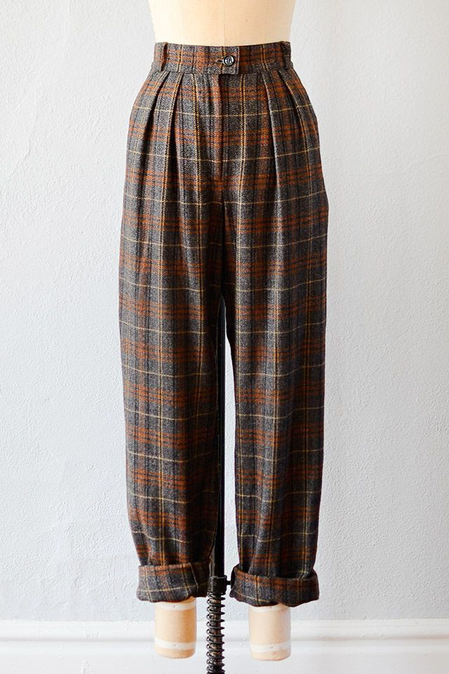 Photo of vintage 1990s plaid wool high waist trousers  but … – #1990s #high #Plaid #tro…
