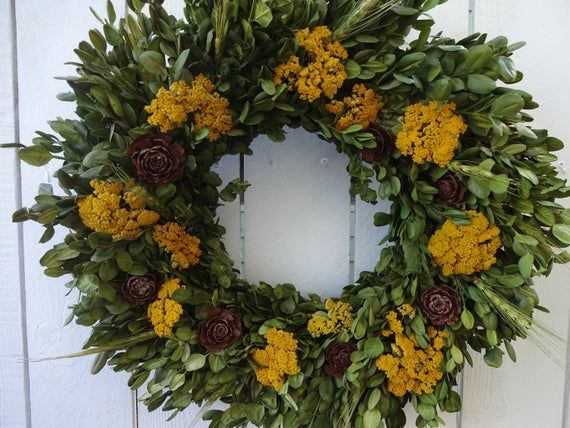Photo of Boxwood Wreath  Dried Wreath  Autumn Wreath  Free Shipping Fall Wreath Natural Wreath Thanksgiving Wreath Hostess Gift  Cedar Roses