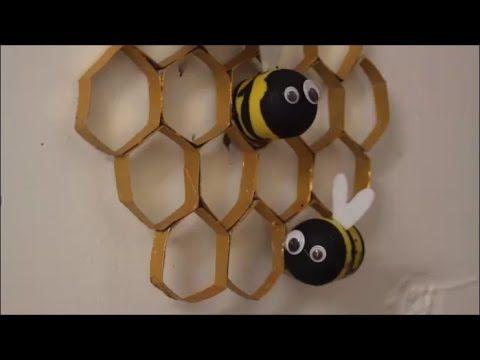 Diy bienenwaben mit bienen basteln mit kindern deko for Zimmer deko mit kindern basteln