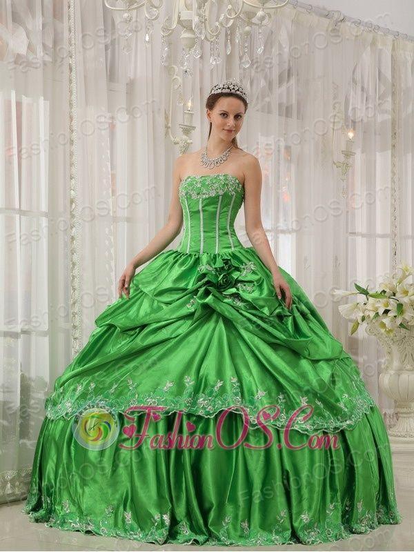 Low Price Spring Green Quinceanera Dress Strapless Taffeta Beading ...