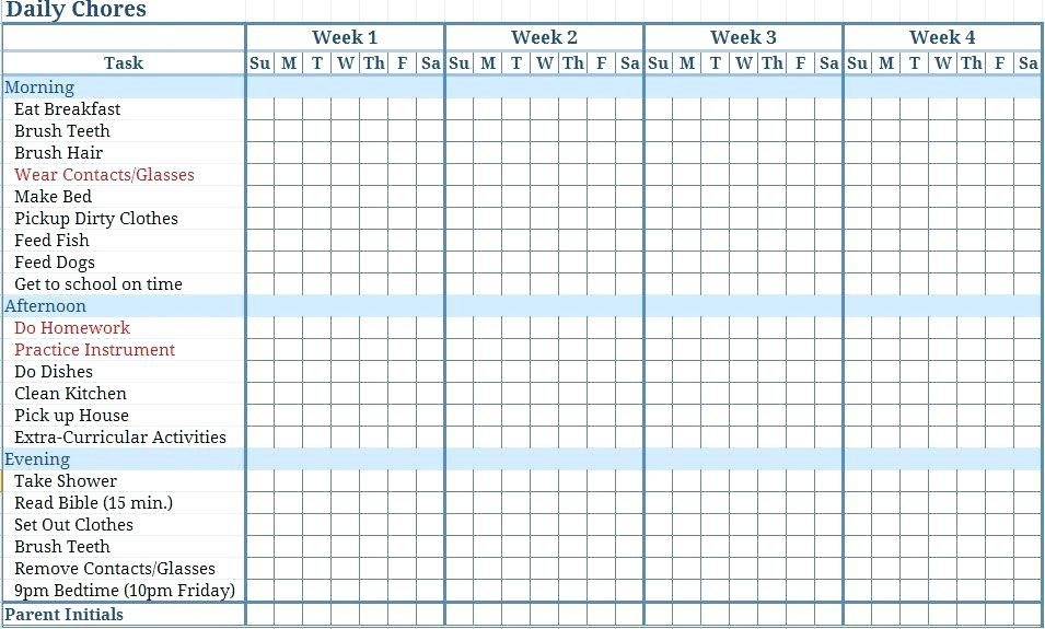Chore Schedule Maker Daily Household Chores Chart Chore Chart