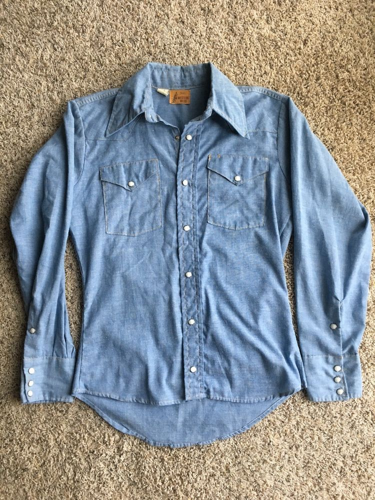 7576775a Vintage Sears Western Wear S Mens Or Womens Pearl Snap Button Down Long  Sleeve #fashion #clothing #shoes #accessories #mensclothing #shirts (ebay  link)