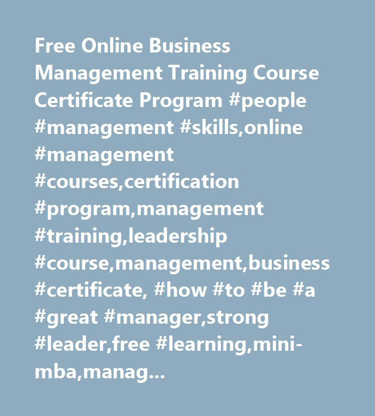 Free Online Business Management Training Course