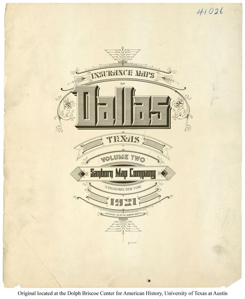 Sanborn Insurance map Texas DALLAS 1921 typography