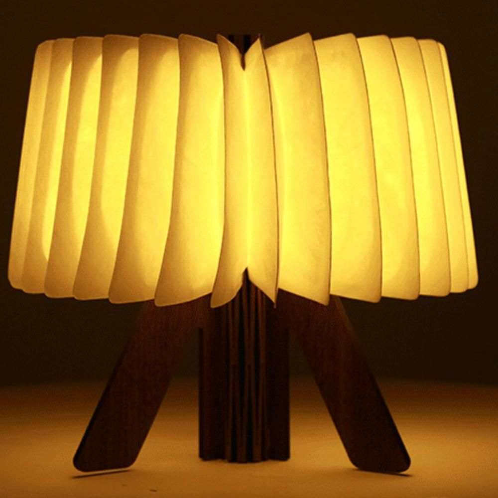 Usb Rechargeable Led Folding Wooden Book Desk Lamp Portable Book Light R Shape Night Light Book Light For Home Table Decoration Lamp Book Lights Night Light