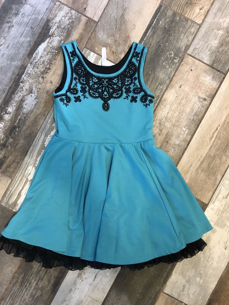 Beautees Girls Size 12 Teal Green And Black Dress Holidays Special
