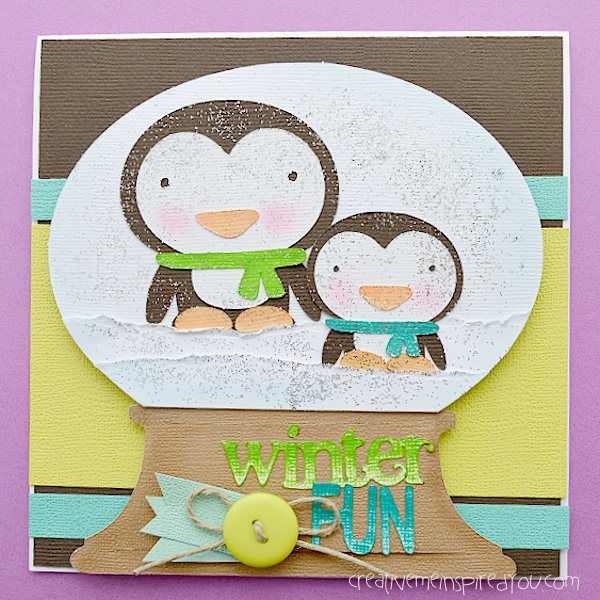 Winter Snow Globe Penguin Card - CreativeMeInspiredYou.com paper crafts, paper art, penguins, snow globe, winter, greeting card, scrapbooking