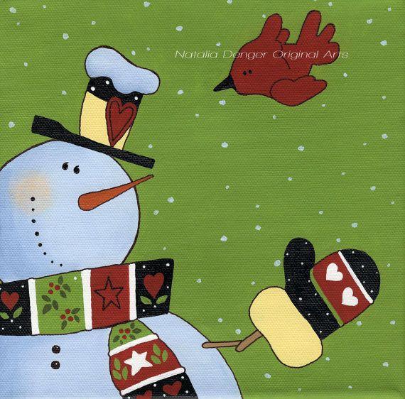 Christmas in July ORIGINAL Painting 8x8 Christmas by NataliaDENGER
