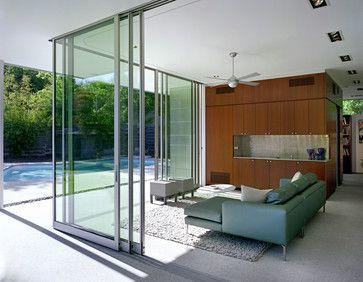 Use These Hideaway Doors To Make An Indoor Outdoor Area Tarrytown Pavilion Modern Living Room Aust Sunroom Designs Door Glass Design Sliding Glass Door