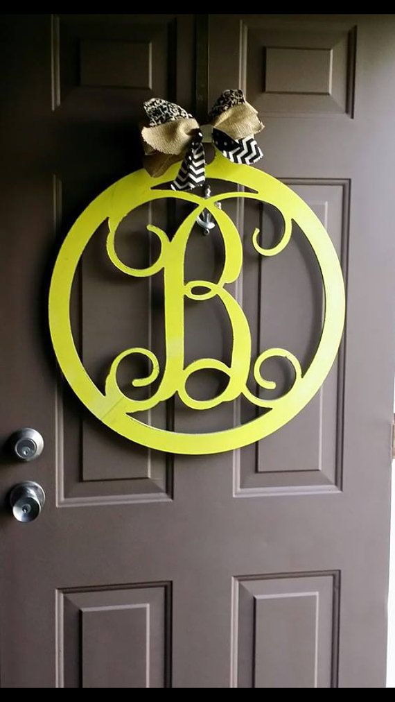 24 Circle Wooden Monogram By Addieclaires On Etsy Wooden Monogram Letters Wooden Monogram Decorative Letters