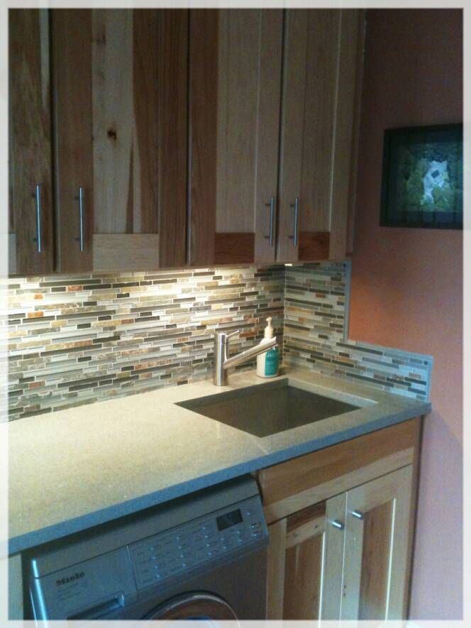Laundryroom Project With Hickory Cabinets, Ice Stone Countertop And  Glass/Slate Backsplash   Love