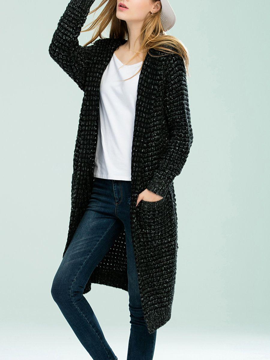 Deep Gray Casual Plain Wool Blend Hoodie Cardigan - AdoreWe.com