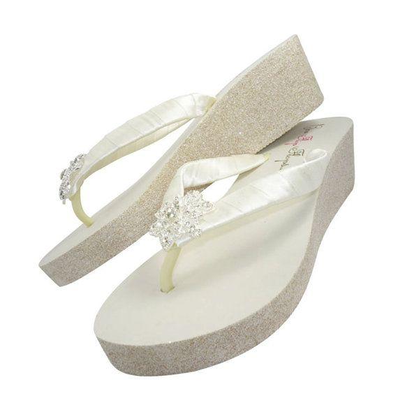 50b42d3e93450 Wedge Heel Flip Flops for the Bride